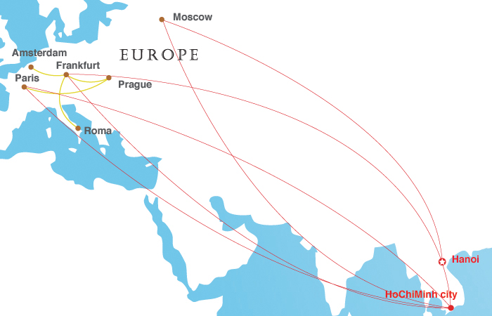 Vietnam Airlines Europe Map